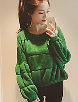 Women's Solid Green / Yellow Pullover , Casual Long Sleeve