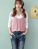 Women's Solid Blue / Pink / White Vest , Casual Sleeveless