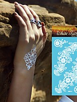 King Horse® White Henna Tattoo Stickers Non Toxic/Hawaiian/Waterproof Flower Series Paper 5pcs 20.5*10cm