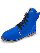 Chaussures Femme - Décontracté - Noir / Bleu / Beige / Kaki - Talon Plat - Confort / Bottine / Bout Arrondi / Bout Fermé - Bottes - Daim