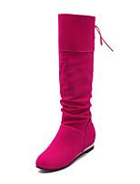 Mujer-Tacón Cuña-Botas a la Moda-Botas-Exterior / Oficina y Trabajo / Casual-Semicuero-Negro / Amarillo / Blanco