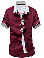 Men's Short Sleeve Shirt , Cotton Blend Casual Pure