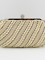 Women Satin Flap Clutch / Evening Bag - White / Almond