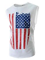 Katoen - Print - Heren - T-shirt - Informeel - Mouwloos