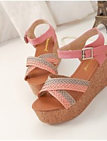 Women's Shoes Faux Leather Wedge Heel Wedges Sandals Casual Pink/Purple/Khaki