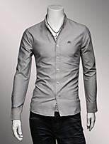 Men's Long Sleeve Shirt , Cotton Casual / Work Pure
