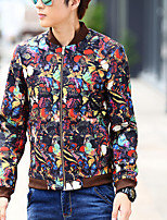 Men's Long Sleeve Jacket Polyester Casual / Plus Sizes Print