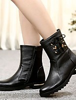 Women's Shoes AmiGirl New Fashion Hot Sale Leather Low Heel Fashion Boots Outdoor / Casual Black