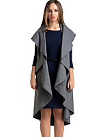 Women's Solid Red / Black / Gray Cloak/Capes , Sexy / Street chic Sleeveless Polyester