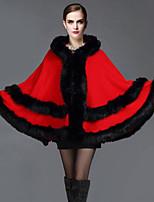 Women's Fashion Plus Size Thick Faux Fur Outerwear/Top , Lined
