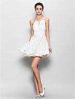 Vestito da damigella - Bianco Tubino Canotta Mini Chiffon / Pizzo