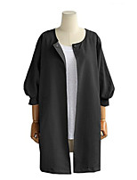 Women's Solid White / Black / Gray Blouse , Off Shoulder / Round Neck Long Sleeve