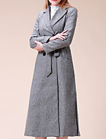 Women's Solid Gray Coat Casual Long Sleeve Polyester