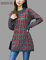 Women's Color Block Red Pullover , Vintage / Casual / Cute / Party Long Sleeve SF9B01