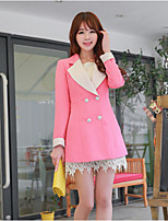 Women's Solid Pink Blazer , Casual / Work V Neck Long Sleeve