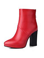 Zapatos de mujer - Tacón Robusto - Puntiagudos / Punta Cerrada - Botas - Oficina y Trabajo / Vestido / Casual - Semicuero -Negro / Marrón