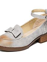 Calçados Femininos - Mocassins - Arrendondado - Salto Grosso - Cinza / Bege - Courino - Casual