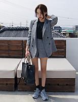 Women's Solid Gray Blazer Set , Casual V Neck Long Sleeve