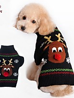 FUN OF PETS® Autumn and Winter Christmas Red Nose Reindeer Black Animals Dog Sweater Dog Clothes for Pet Dogs