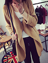 Women's Solid Brown / Gray Cardigan , Vintage / Casual Long Sleeve