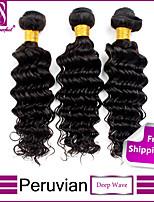 feixes de cabelo virgem profunda onda peruano 3pcs onda profunda não transformados tramas de cabelo humano