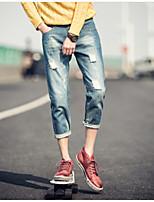 Men's Pure Sleeveless Pant , Cotton / Denim Casual / Work