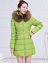 Women's Solid Blue / Red / Black / Green Parka Coat