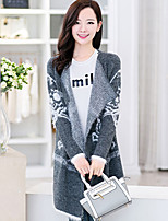 Women's Print / Solid / Color Block Blue / White / Gray Cardigan , Casual Long Sleeve
