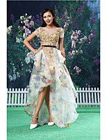 A-line Formal Evening Dress - Gold Asymmetrical Jewel Lace / Organza