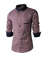 Men's Long Sleeve Shirt , Cotton Casual / Work Plaids & Checks / Pure