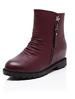 Chaussures Femme - Décontracté - Noir / Rouge - Gros Talon - Bout Arrondi - Bottes - Similicuir