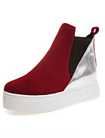 Women's Shoes Platform Round Toe Boots Casual Black / Red