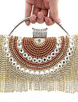 Women Satin Minaudiere Clutch / Evening Bag - Gold / Black