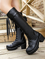 Women's Shoes Leatherette Chunky Heel Combat Boots / Round Toe Boots Dress / Casual Black / White