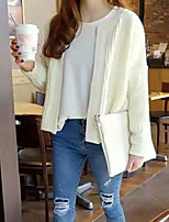 Women's Solid Beige / Gray Cardigan , Casual Long Sleeve