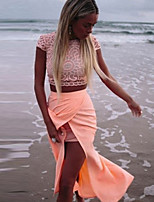 Women's Solid Pink Skirts , Sexy Maxi