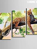 Animal / Botánico Impresión de la lona Tres Paneles Listo para colgar , Vertical