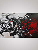Hand-Painted Modern Abstract Black and White and Red Oil Painting on Canvas Ready to Hang
