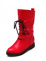 Women's Shoes  Wedge Heel Combat Boots / Round Toe Boots Outdoor / Casual Black / Red / Beige