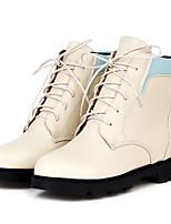 Chaussures Femme - Extérieure / Décontracté - Noir / Beige - Talon Plat - Bottes à la Mode - Bottes - Similicuir