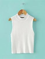 Women's Wool Blend Vest, Solid White / Black / Gray Vest , Casual /Elegant Sleeveless Vest