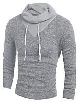 Herren Standard Pullover-Lässig/Alltäglich Einfach Einfarbig Grau Mit Kapuze Langarm Baumwolle Herbst Winter Mittel Mikro-elastisch