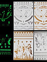 4pcs Body Art Temporary Tattoos Gold Silver Halloween Night Shining Luminous Flash Metallic Sticker Jewelry Waterproof