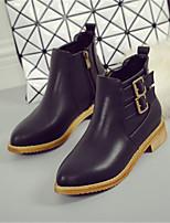 Zapatos de mujer - Tacón Bajo - Puntiagudos - Botas - Casual - Semicuero - Negro