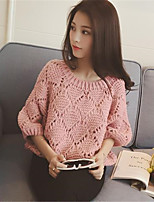 Women's Striped Pink / Red / Green Pullover , Casual ¾ Sleeve