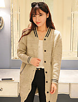 Women's Solid Beige / Gray Cardigan , Vintage / Casual Long Sleeve