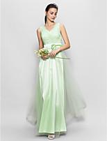 Floor-length Tulle Bridesmaid Dress - Sage A-line V-neck