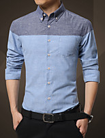 Autumn spring and autumn male slim Mens Long Sleeve Shirt cotton business casual.