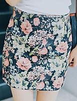 Women's Print Pink / Red Skirts , Vintage Mini