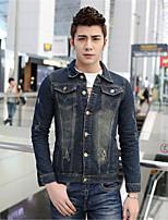 Men's Pure Long Sleeve Jacket , Denim Casual / Sport